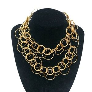 JOAN RIVERS GOLD TONE OPEN CIRCLES NECKLACE
